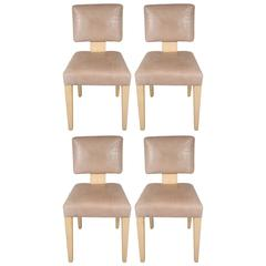 J. Robert Scott Dining or Side Chairs in Leather Upholstery with Shagreen Frame