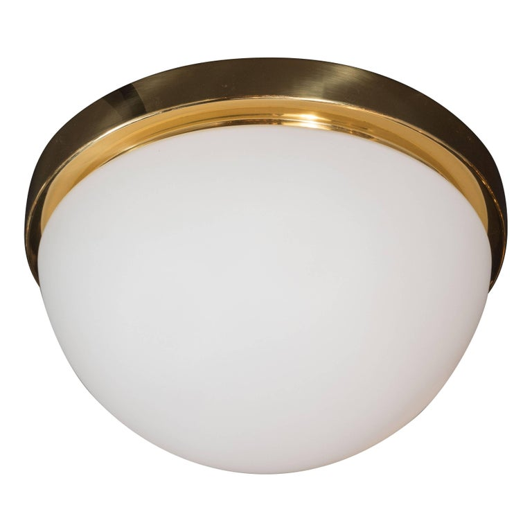 Mid-Century Frosted Glass and Brass Flush Mount Fixture by Glashütte Limburg