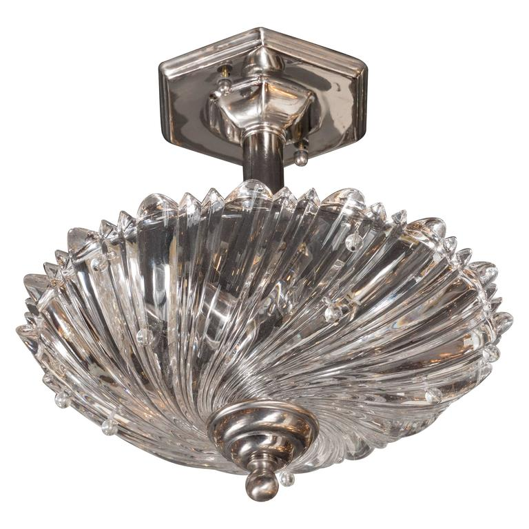 Modernist Translucent Glass and Polished Nickel Semi Flush Mount For Sale