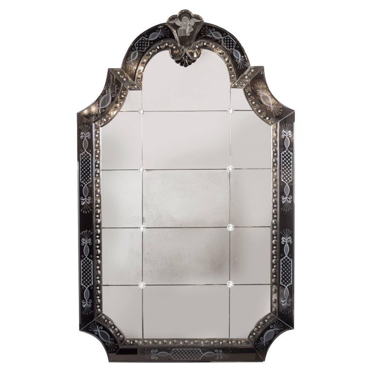 Hollywood Regency/Art Deco Reverse Etched, Beveled & Scalloped Venetian Mirror