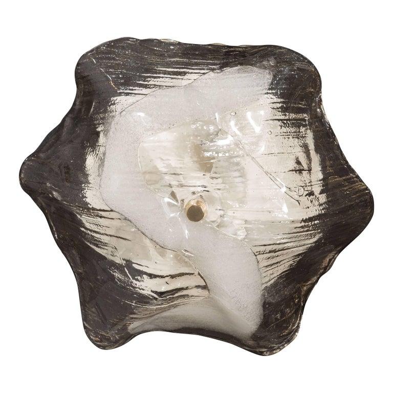 Mid-Century Modernist Sculptural Handblown Glass Flush Mount by J.T. Kalmar