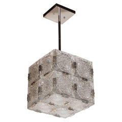 Mid-Century Modernist Pendant with Etched Glass and Chrome Fittings by Kinkeldy
