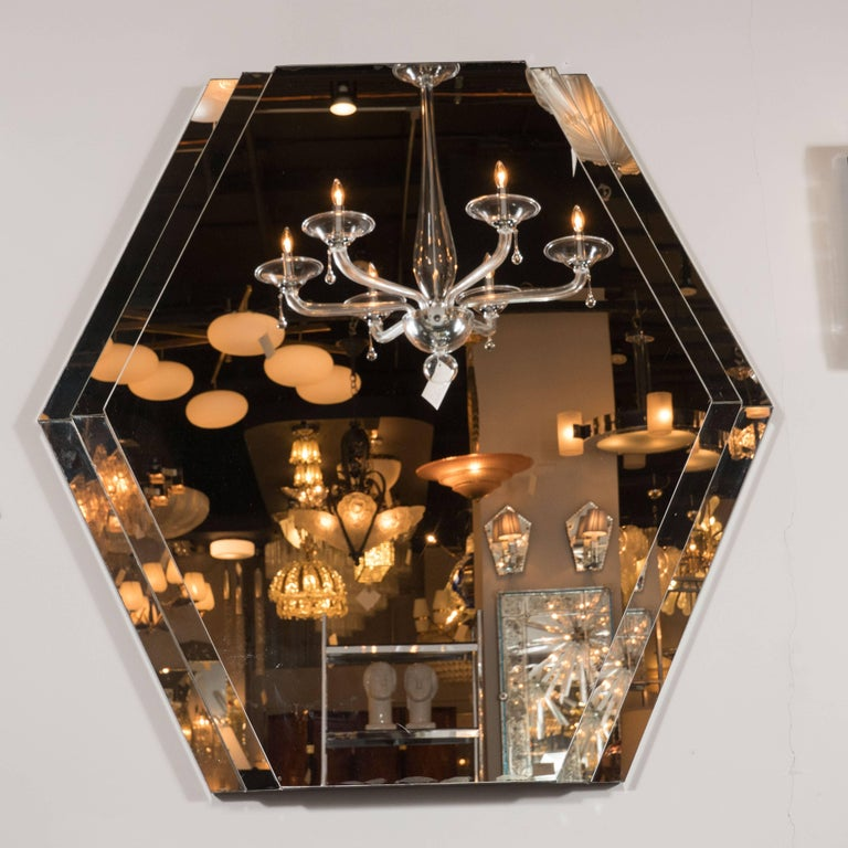 Mid-Century Modernist Hexagonal Mirror with Skyscraper Style Tiered Perimeter 2