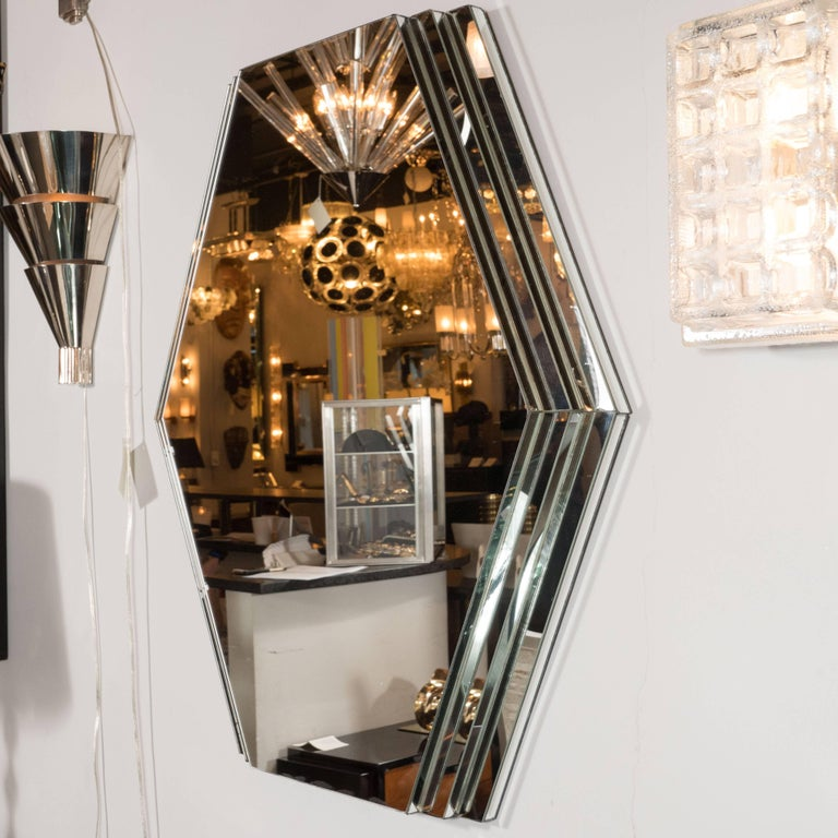 American Mid-Century Modernist Hexagonal Mirror with Skyscraper Style Tiered Perimeter For Sale