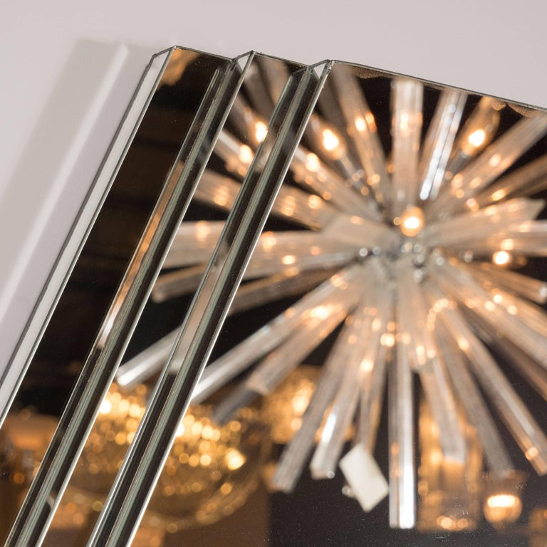 Mid-Century Modernist Hexagonal Mirror with Skyscraper Style Tiered Perimeter For Sale 2