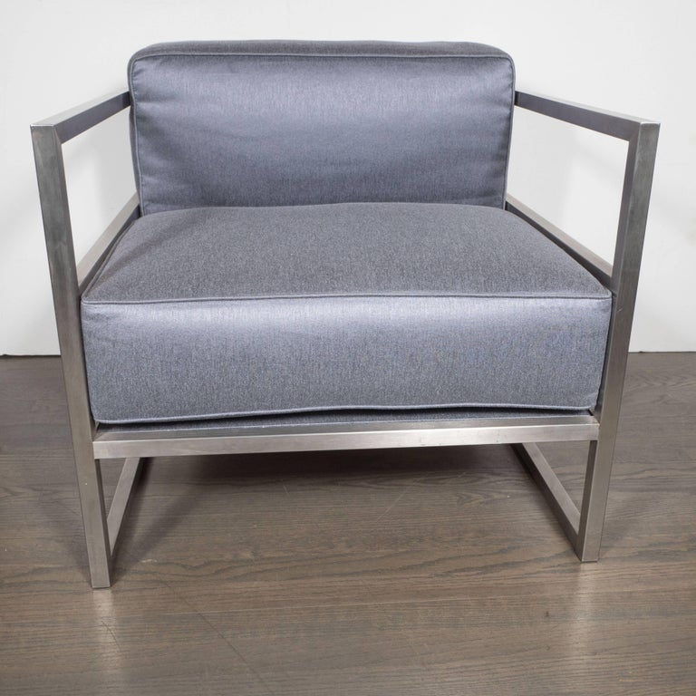 Mid-Century Modern Pair of Modernist Brushed Aluminium Club Chairs in Platinum Sharkskin For Sale