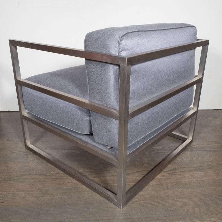American Pair of Modernist Brushed Aluminium Club Chairs in Platinum Sharkskin For Sale