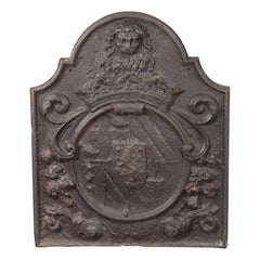 Dutch Armorial Fireback with Lion's Head Motif and Crest on Arch Top Panel