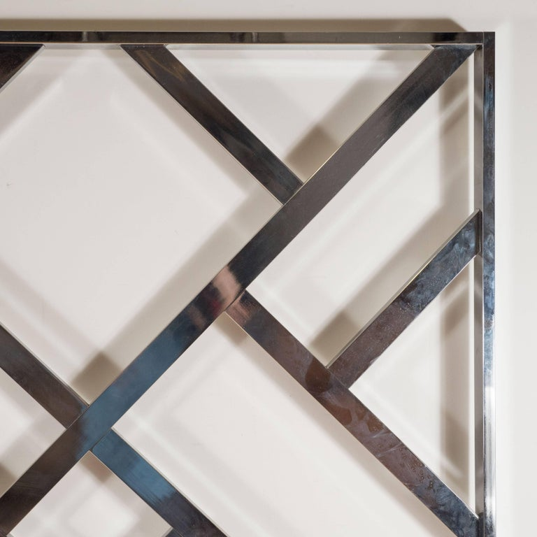 Mid-Century Modernist Chrome King-Size Headboard in the Style of Milo Baughman For Sale 1