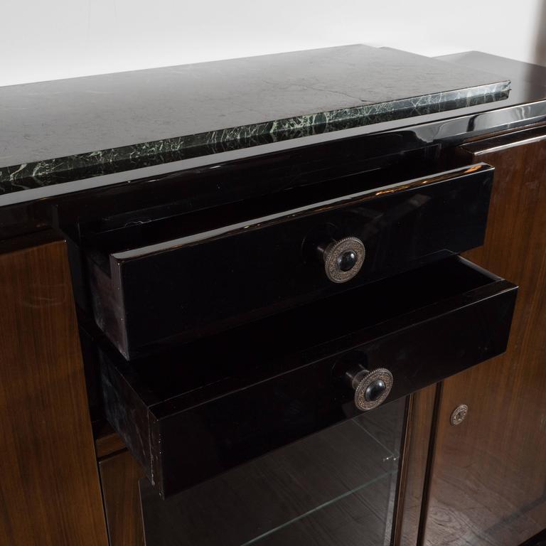 art deco sideboard bar nussbaum exotischer marmor und messingbeschlage 4