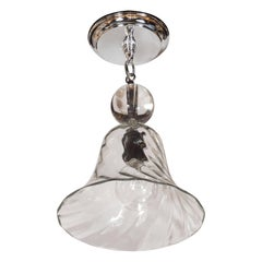 Handblown Smoke Tinted Murano Glass Pendant with Crystal Ball Embellishment