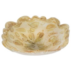 Mid-Century Modern Handblown Murano Glass Bowl in Oyster Shell and Champagne
