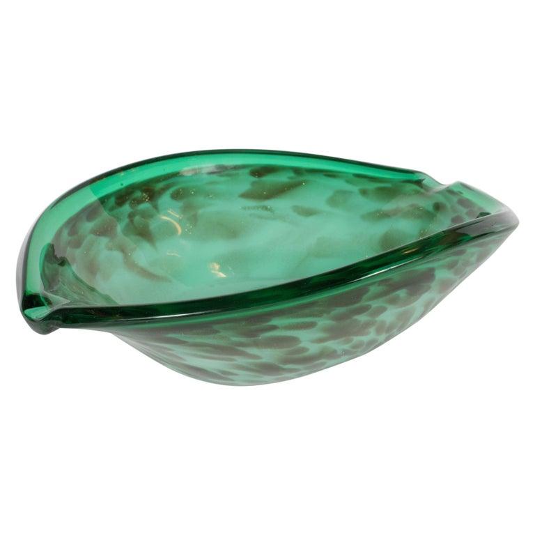 Mid-Century Modern Murano Glass Bowl in Sea Foam and Iridescent Emerald Green