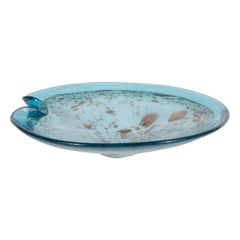 Mid Century Modern Powder Blue Handblown Murano Glass Bowl w/ Gold Iridescence