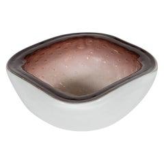 Mid Century Modern Handblown Glass Bowl w/ Champagne Pink Center & Chambord Rim