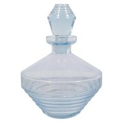 Czech Art Deco Skyscraper Style Perfume Bottle in Light Blue Translucent Glass