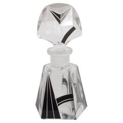 Czech Art Deco Perfume Bottle with Black Overlaid & Frosted Glass Cubist Detail