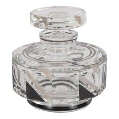 Czech Art Deco Perfume Bottle with Black Enamel & White Gold Geometric Details