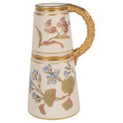 Hand-Painted Gilded Art Nouveau Bonn Royal Worcester Vase with Floral Motif