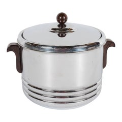 Art Deco Machine Age Chrome & Ceramic Ice Bucket with Bakelite Handles & Finial