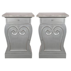 Pair of Deco End Tables in Silverleaf with Carrara Marble Tops by Grosfeld House