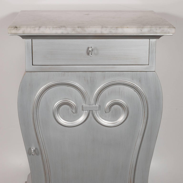 Pair of Deco End Tables in Silverleaf with Carrara Marble Tops by Grosfeld House For Sale 1