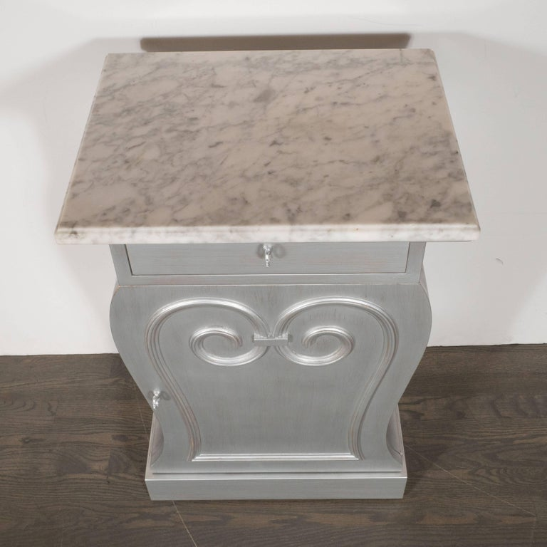 Silver Leaf Pair of Deco End Tables in Silverleaf with Carrara Marble Tops by Grosfeld House For Sale