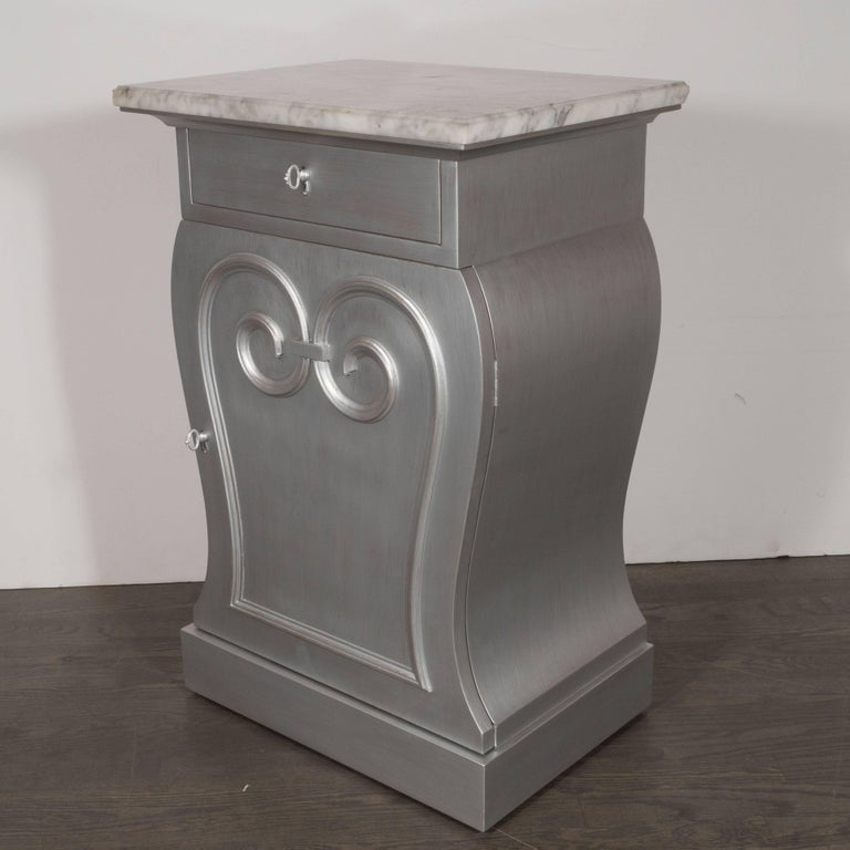 Art Deco Pair of Deco End Tables in Silverleaf with Carrara Marble Tops by Grosfeld House For Sale