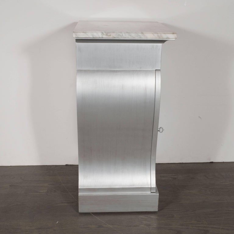 American Pair of Deco End Tables in Silverleaf with Carrara Marble Tops by Grosfeld House For Sale