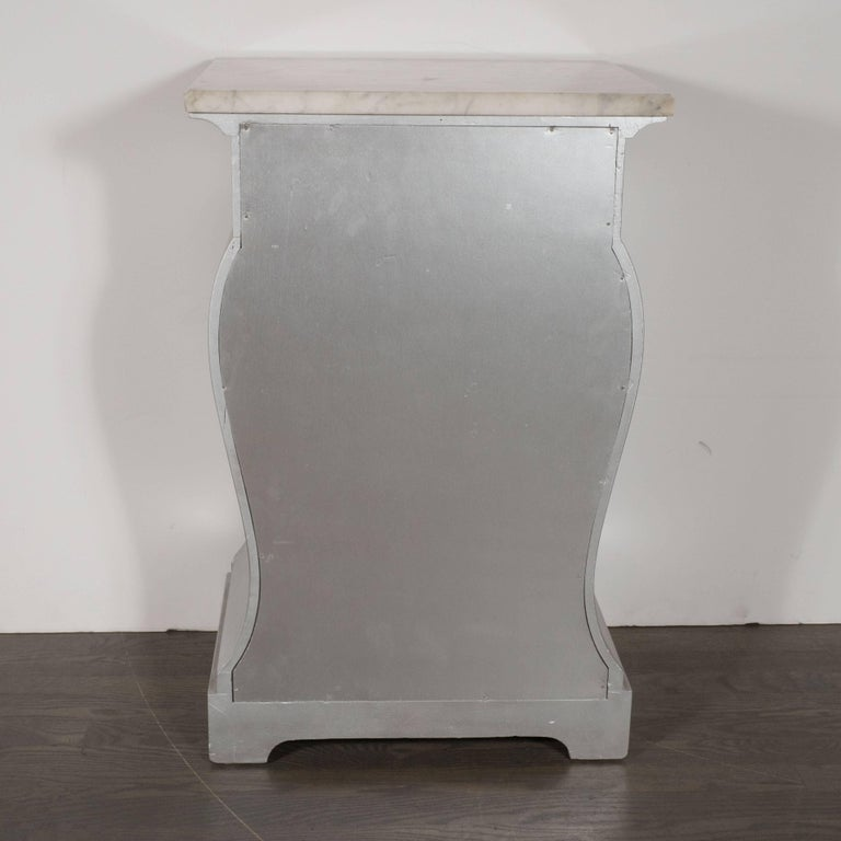 Pair of Deco End Tables in Silverleaf with Carrara Marble Tops by Grosfeld House In Excellent Condition For Sale In New York, NY