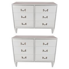 Pair of White Lacquer Art Deco Chests with Nickeled Pulls by Charak Modern