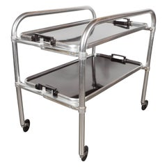 Art Deco Machine Age Bar Cart in Aluminium and Bakelite, American, circa 1935