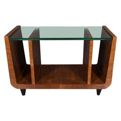 Art Deco Book-Matched Walnut & Black Lacquer Cocktail Table/Magazine Stand