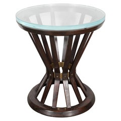 Mid Century Modern Occasional Table in Walnut, Brass & Glass by Edward Wormley