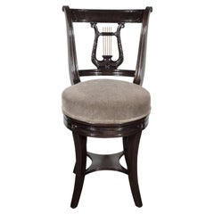 1940s Ebonized Walnut Swiveling Stool or Vanity Chair with Lyre Detail
