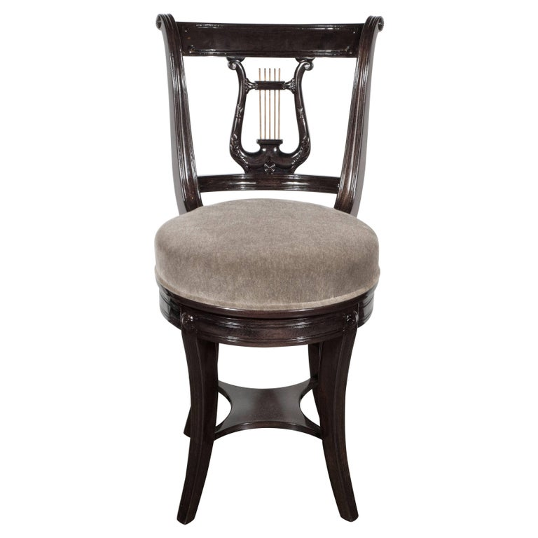 1940s Ebonized Walnut Swiveling Stool or Vanity Chair with Lyre Detail For Sale