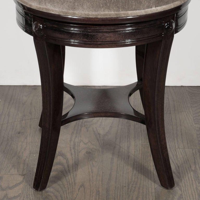 Mohair 1940s Ebonized Walnut Swiveling Stool or Vanity Chair with Lyre Detail For Sale