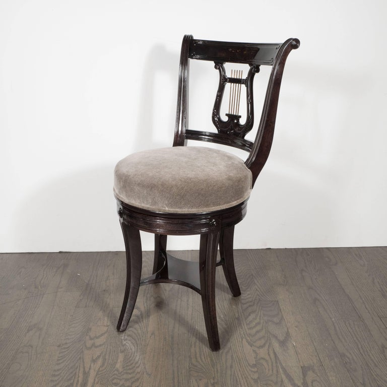 Neoclassical Revival 1940s Ebonized Walnut Swiveling Stool or Vanity Chair with Lyre Detail For Sale