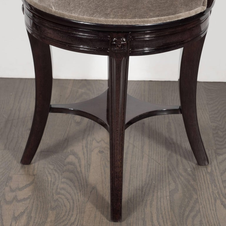 1940s Ebonized Walnut Swiveling Stool or Vanity Chair with Lyre Detail For Sale 1