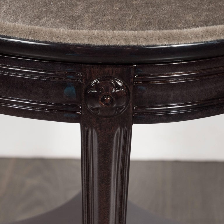 1940s Ebonized Walnut Swiveling Stool or Vanity Chair with Lyre Detail For Sale 2