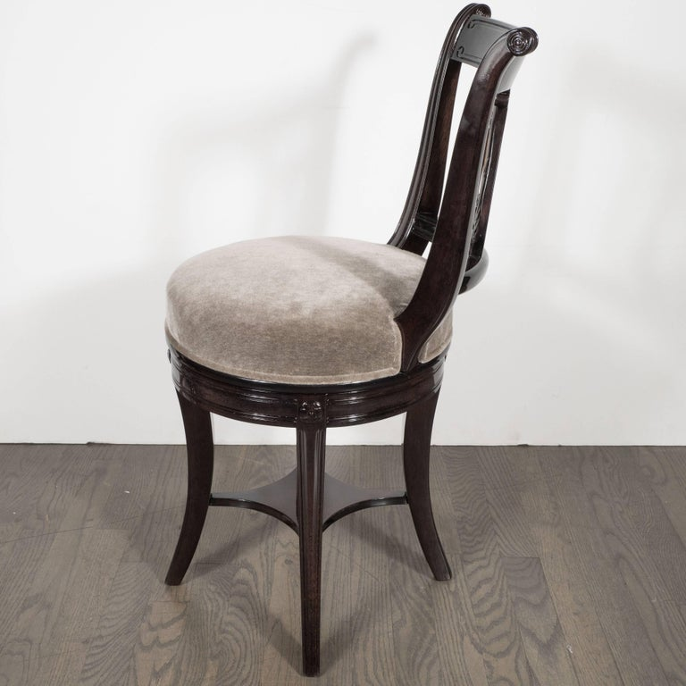 American 1940s Ebonized Walnut Swiveling Stool or Vanity Chair with Lyre Detail For Sale