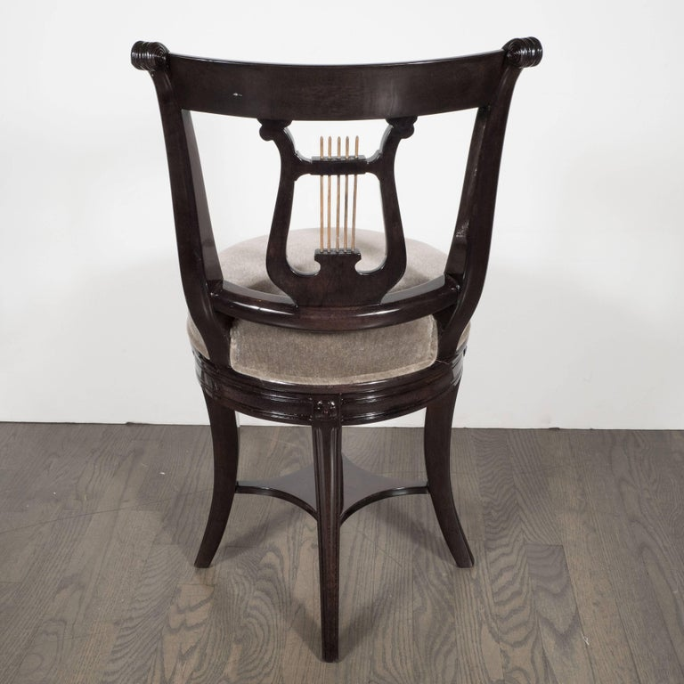 1940s Ebonized Walnut Swiveling Stool or Vanity Chair with Lyre Detail In Excellent Condition For Sale In New York, NY