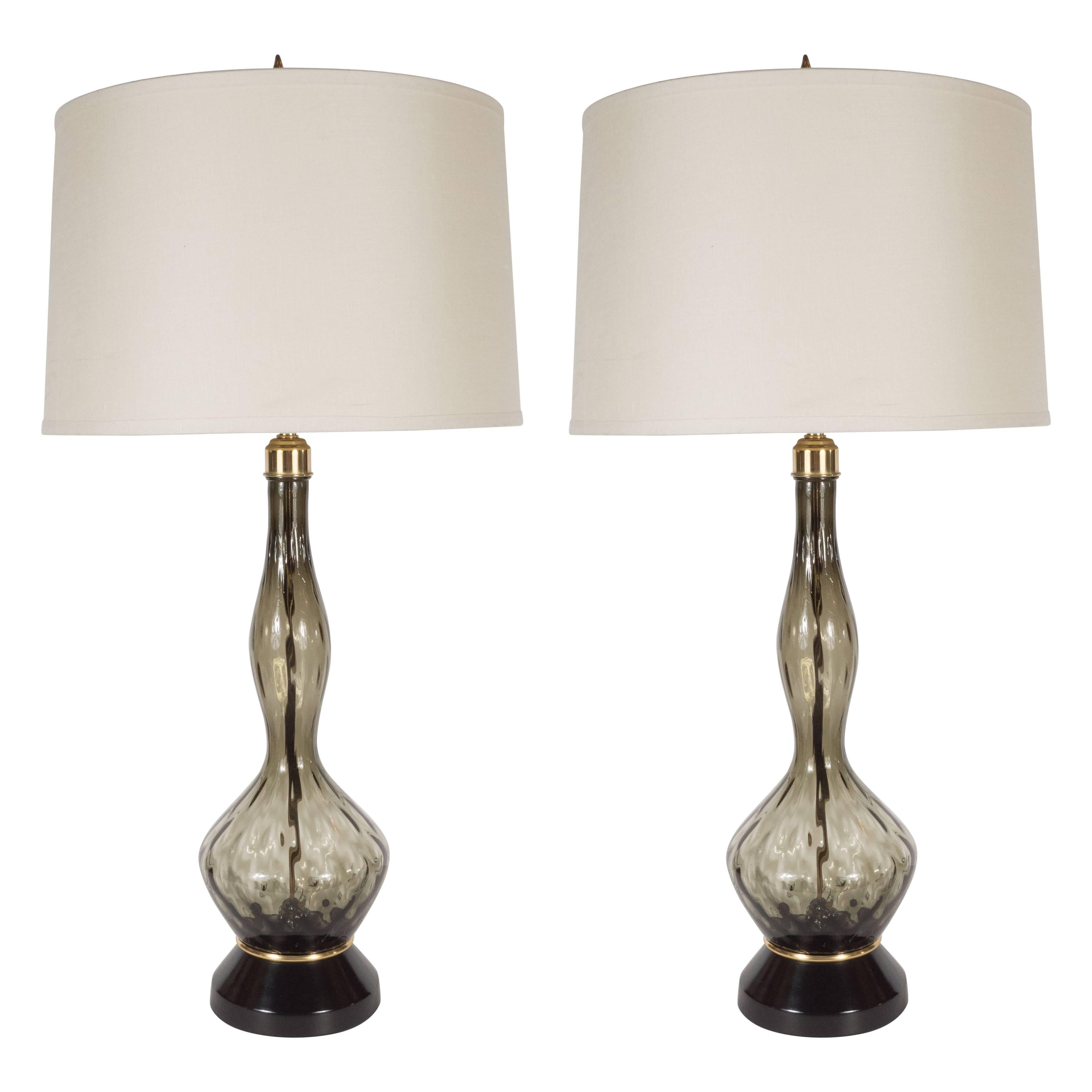 Pair of Mid-Century Table Lamps in Smoked Murano Glass with Brass Fittings