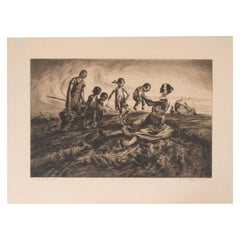 """Group of Figures"", an Original Signed Etching by John E. Costigan"