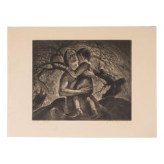 """Mother and Child"" A Signed Limited Edition Etching by John E. Costigan"