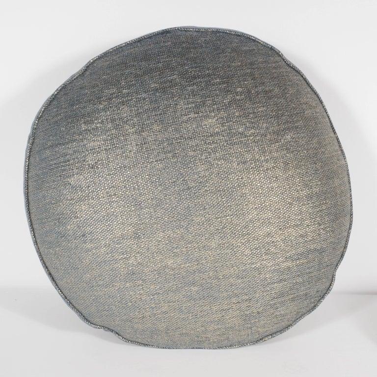Modern Set of Three Geometric Pillows in a Metallic Woven Linen For Sale