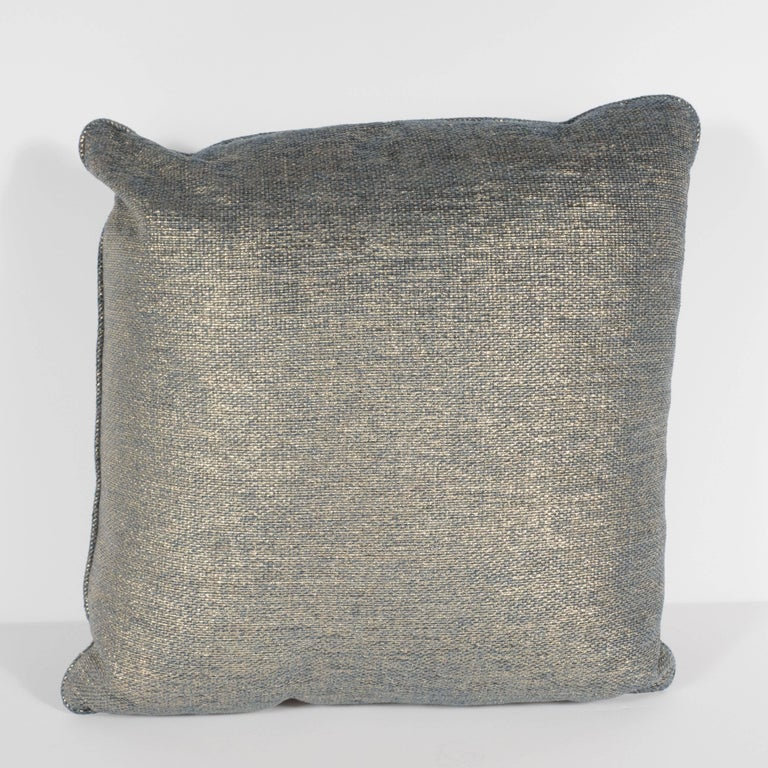 Contemporary Set of Three Geometric Pillows in a Metallic Woven Linen For Sale