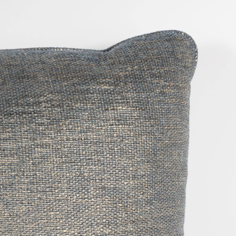 Set of Three Geometric Pillows in a Metallic Woven Linen For Sale 1