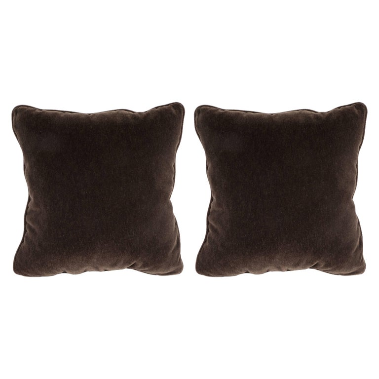 Gorgeous Pair of Custom Handmade Pillows in Chestnut Mohair Fabric
