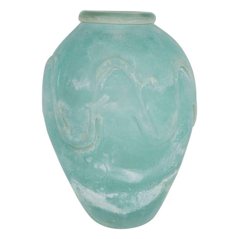 Mid-Century Modern Scavo Finish Murano Glass Aquamarine Vase by Seguso of Italy 1